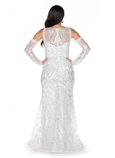 Pierre Cardin Geometrik Desenli Uzun Abiye Elbise Ekru
